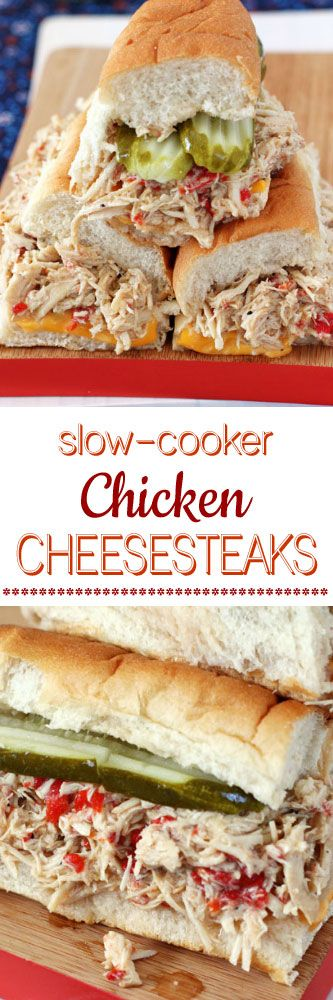 Slow-Cooker Chicken Cheesesteaks #steaks #sandwiches #subs