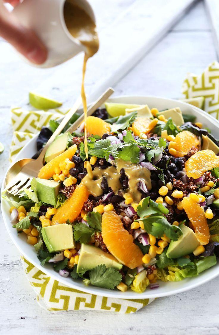 HEALTHY Vegan Mexican Quinoa Salad with Black Beans, Corn, Avocado and a Creamy Orange Chili Dressing! #vegan #glutenfree