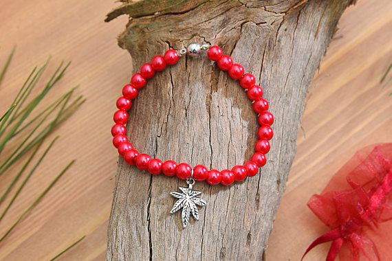 6mm Red Pearl Beads Leaf Bracelet Pearlized Bracelet Beads