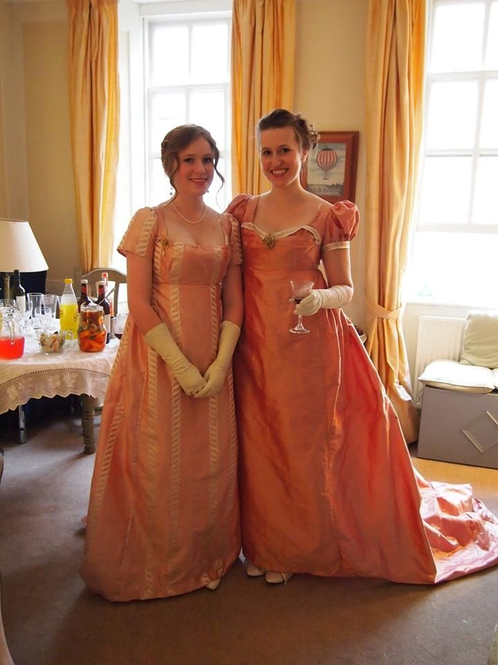Lovely silk Regency evening dresses