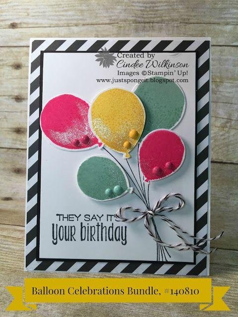 Just Sponge It: Balloon Celebrations Video, Balloon Celebration Bundle, Suite Sayings, Memento Ink, Neutrals Designer Series paper, It's My Party Enamel Dots, Wink of Stella, Birthday, DIY, Stampin' Up!