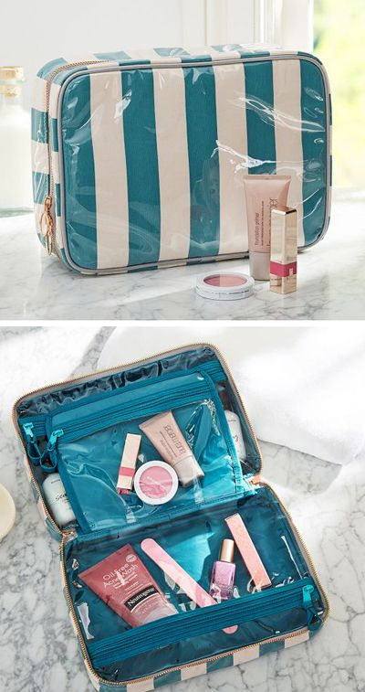 Peacock Stripe Ultimate Cosmetic Bag
