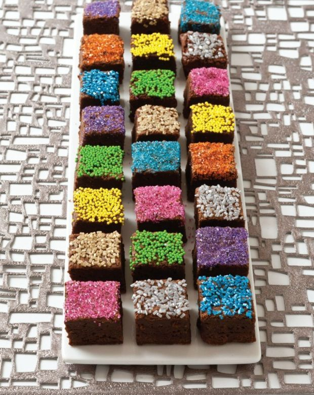Decorated non dairy Brownie Bites - featured on a simchat torah menu