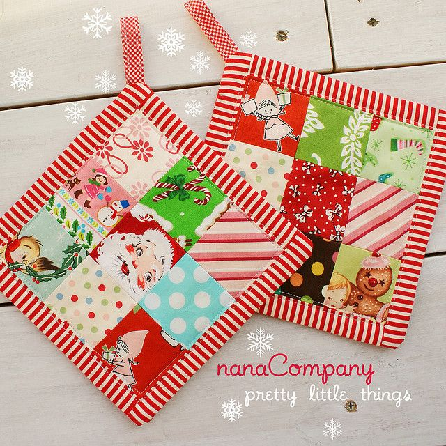 I spy a use for all those really cute Christmas fabrics I can't control myself from buying but have no idea what to do with them: 9-patch potholders. :)