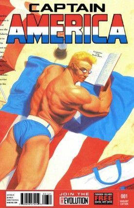 Captain America. Original art by Lou Harrison, mock cover by Brett White.