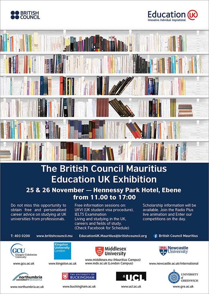 The British Council Mauritius Education UK Exhibition 2016. Tel: 403 0200