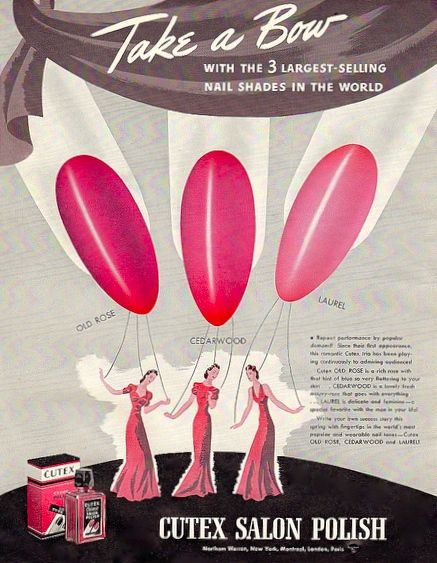 Cutex Nail Polish Ad, 1940's