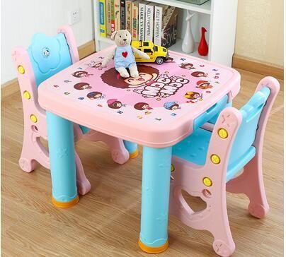 Studie bureau en stoel set. combinatie tafel. kinderen plastic tafel van een set van bureau en stoel