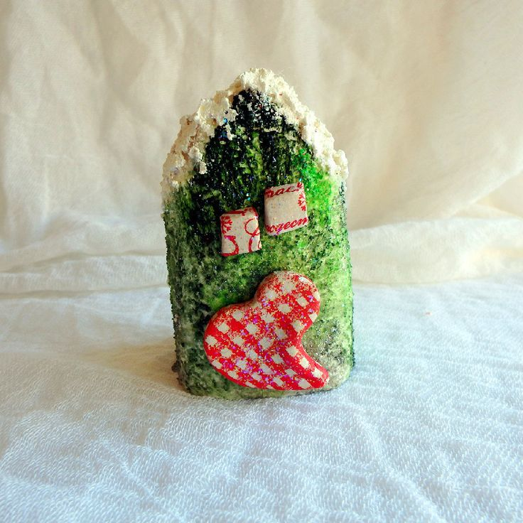 Holiday decoration Christmas gift ceramic ornament Christmas miniature house glitter decoration ceramic decor art and collectible by kosmobysoul on Etsy