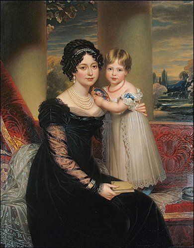 This picture of an infant Queen Victoria and her mother, the widowed Duchess of Kent, shows the appearance of fashionable mourning dress in 1821.