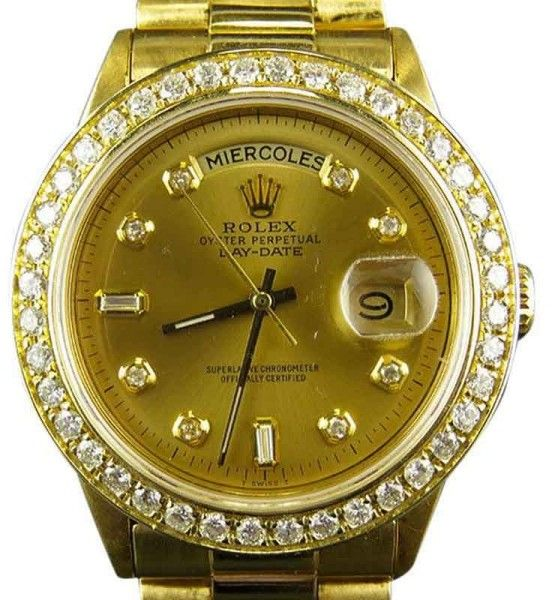 Elegant Rolex Presidential Day Date K Yellow Gold ct Diamond Mens mm Watch