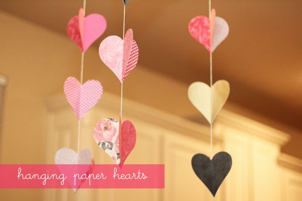Hanging Paper Valentine's Day Hearts