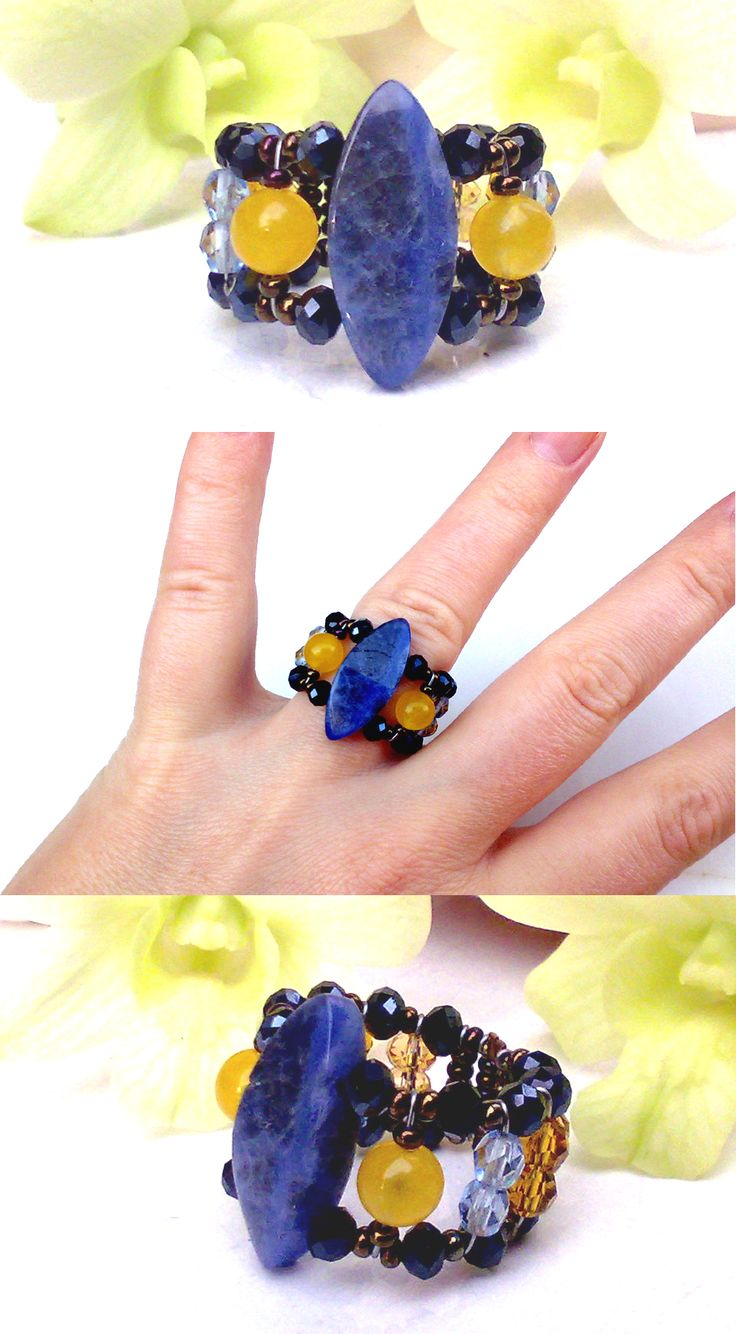 """Lancelot"" Topaz Ring from  Musesa Collection with Sodalite,Yellow South America Topaz, Swarovski Crystals, Czech Crystals."