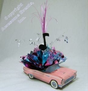 Driving In Retro Centerpiece With 56 Chevy Or T Bird For Theme Party Table  Decorations, Bar And Bat Mitzvahs.