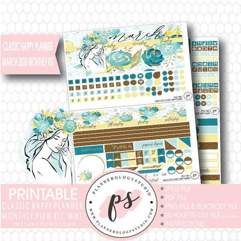Mint March 2018 Monthly View Kit Digital Printable Planner Stickers (f – Plannerologystudio