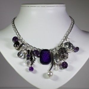 Silver Necklace with purple semi precious stones and Czech glass beads
