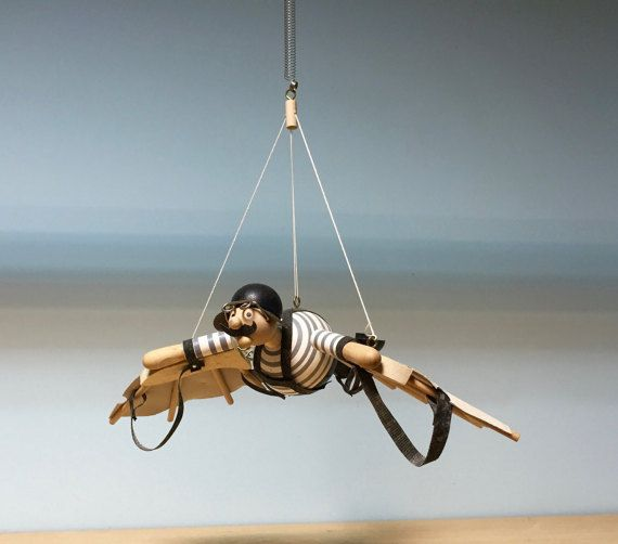 Wooden hanging mobile flying man hang gliderwooden