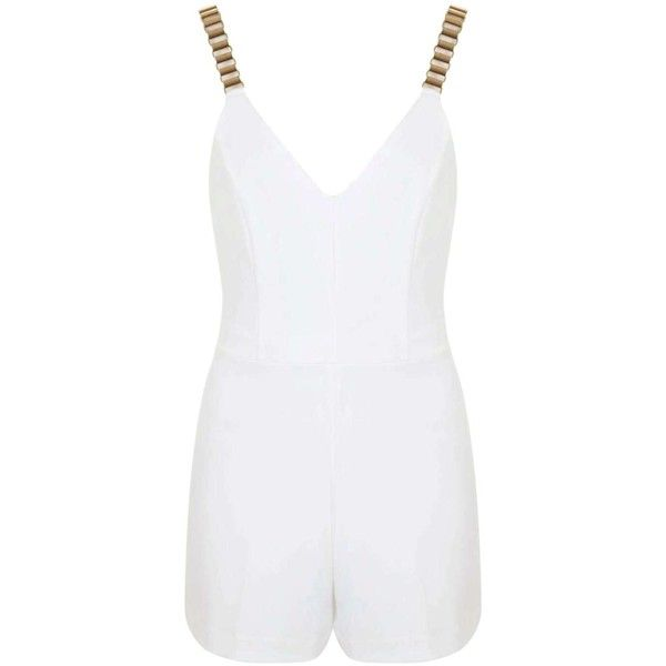 Miss Selfridge Gold Chain Strap Playsuit (£15) ❤ liked on Polyvore featuring jumpsuits, rompers, cream, white romper, miss selfridge, white rompers and playsuit romper