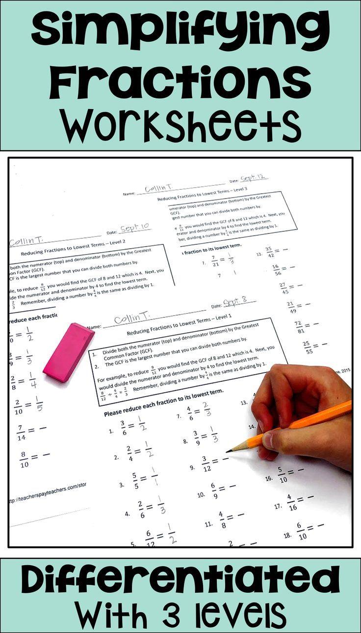 medium resolution of Simplifying Fractions Differentiated Worksheets   Simplifying fractions