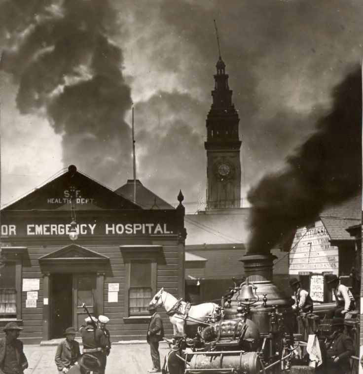 The Great San Francisco Earthquake and Fire of 1906. The picture shows the hospital near the Union Ferry building. You can see smoke from the city in the background.