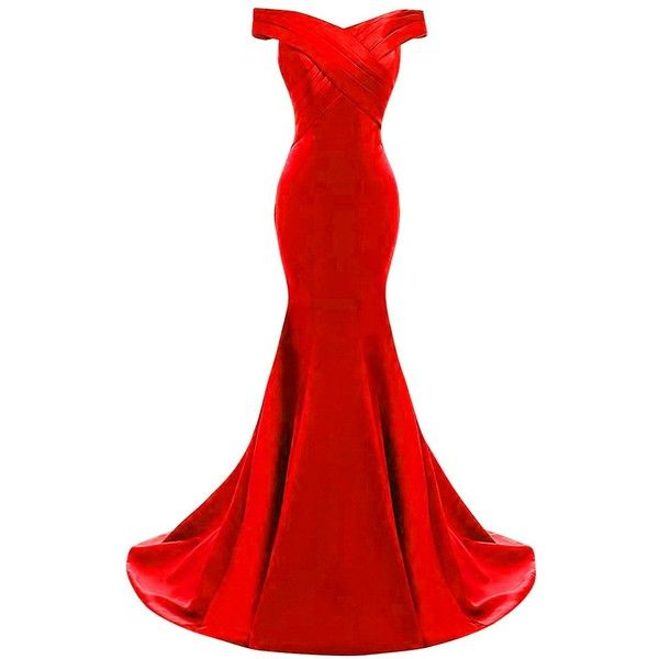 Yinyyinhs Women's Evening Dress Off Shoulder Ruffles Mermaid Formal... ($75) ❤ liked on Polyvore featuring dresses and gowns
