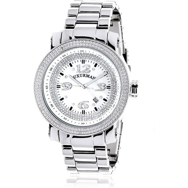 Luxurman Men's 'Iced Out' Diamond Stainless Steel Watch with Metal... ($175) ❤ liked on Polyvore featuring men's fashion, men's jewelry, men's watches, white, mens watches, men's blue dial watches, mens diamond bezel watches, mens white dial watches and mens diamond watches