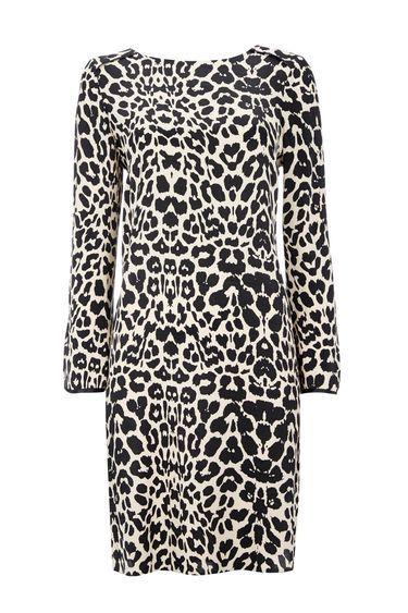 Black Animal Print Split Sleeve Dress