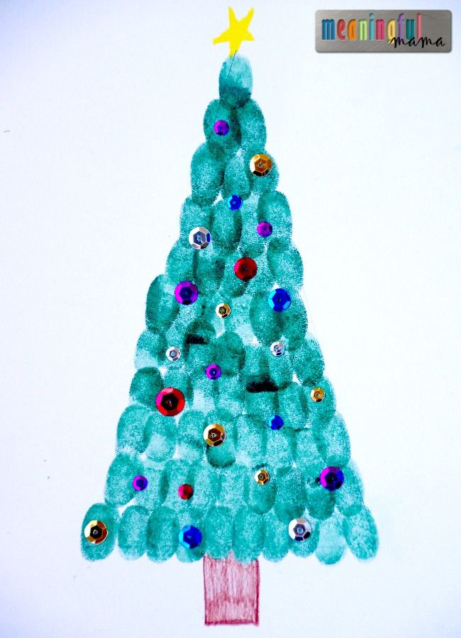 Fun holiday craft for kids - fingerprint Christmas trees!
