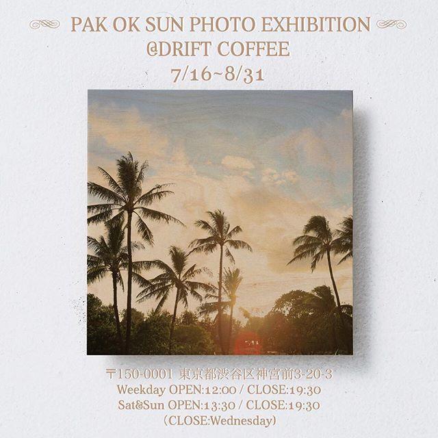 フォトグラファーPAK OK SUNが原宿drift coffeeにて写真展示を行います。 . 木に転写プリントした写真の展示です。 . 本日より8/31までとなります。 是非お茶しがてら見にいらして下さいませ☕️🍴 . 渋谷区神宮前3-20-3 PAK's photo exhibition at HARAJUKU drift coffee. 7/16〜8/31 . 🌴☀️🌴 #pakoksun #photo #photographer #surf #surfgirl #driftcoffee #原宿 #woodprint