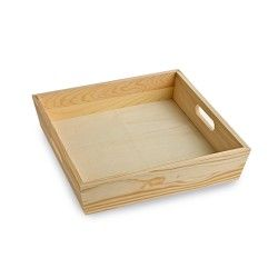Square Wooden Tray With Inset Handles