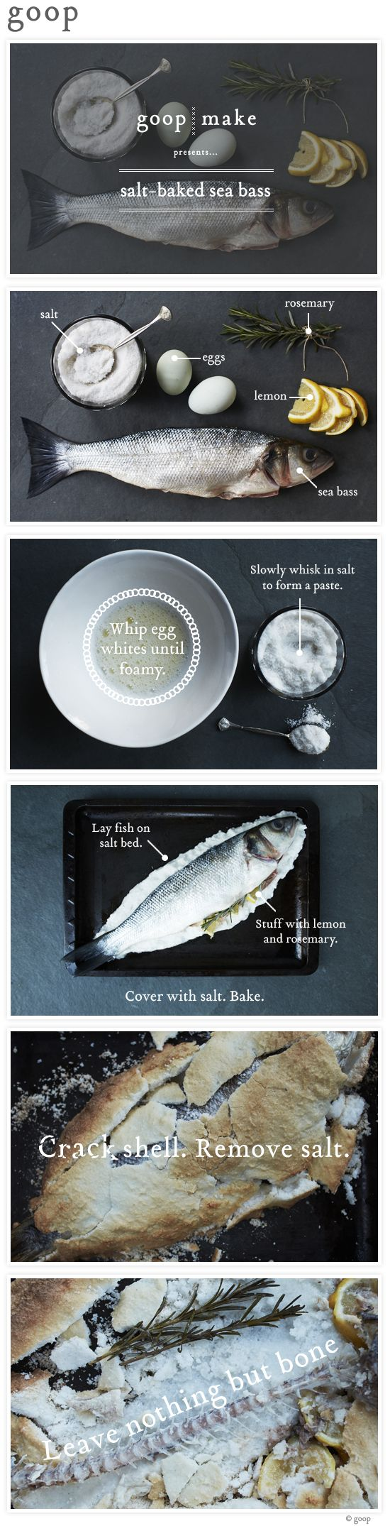 Salt-baked sea bass #goopmake. I tried this method and the fish was delicious! I swear by it!