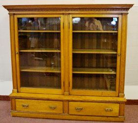 Oak Glass Door Bookcase With Dental Molding