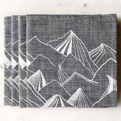 Mountain Napkin Set - Gray