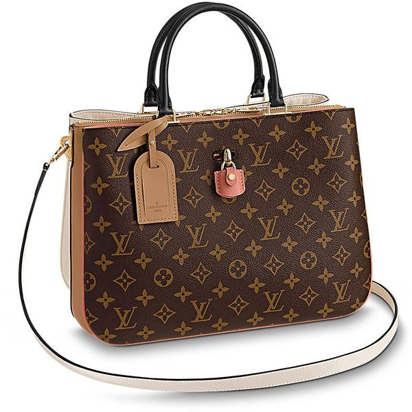 Millefeuille (11,100 SAR) ❤ liked on Polyvore featuring bags, handbags, tote bags, monogram tote, brown tote purse, canvas handbags, brown handbags and handbags totes