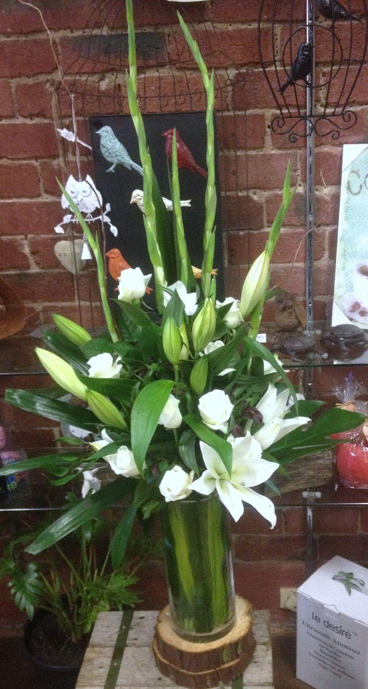 Vase Arrangement with Gladioli, Oriental Lilys & White Roses