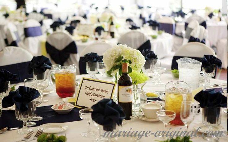 1000 images about centre de table on pinterest big wine glass wedding rec - Deco bleu marine et blanc ...