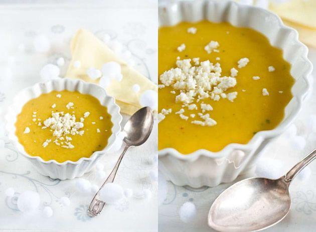 Zuppa calda di patate e zafferano