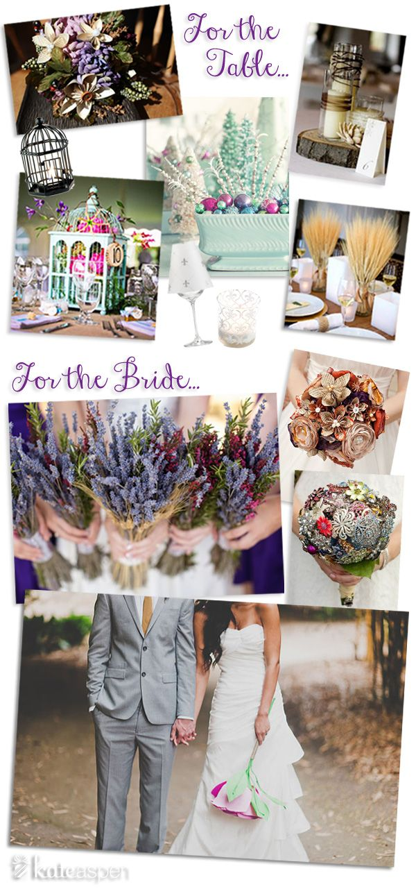 In Lieu Of Flowers…Whether fresh flowers are out of your budget or you're a DIY diva, alternative centerpieces and bouquets can really make an impression at a wedding. From bundled wheat to a bouquet of brooches, there's a non-floral option for every bride's style. Here are some of Bride 2 Be's favorites for the table and for the bride: www.bride2be.theaspenshops.com
