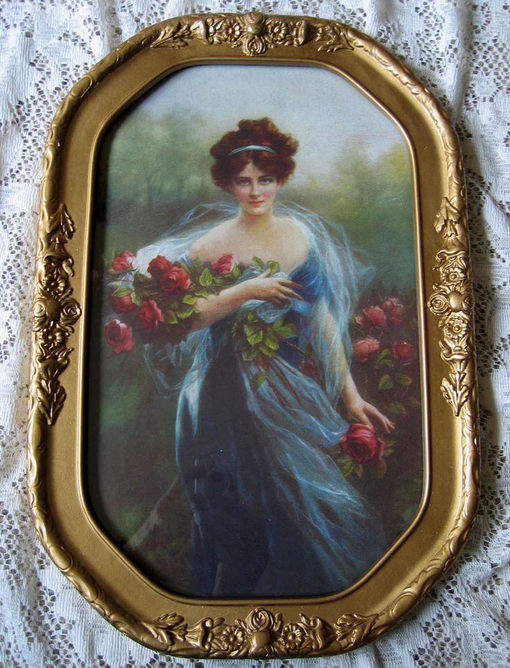 Barbola Roses Frame Flower Detail Vintage Gold