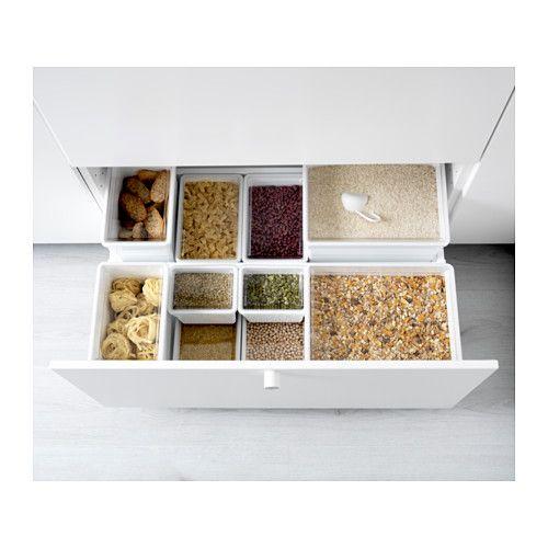 TILLSLUTA 乾燥食品用容器 ふた付き, ホワイト