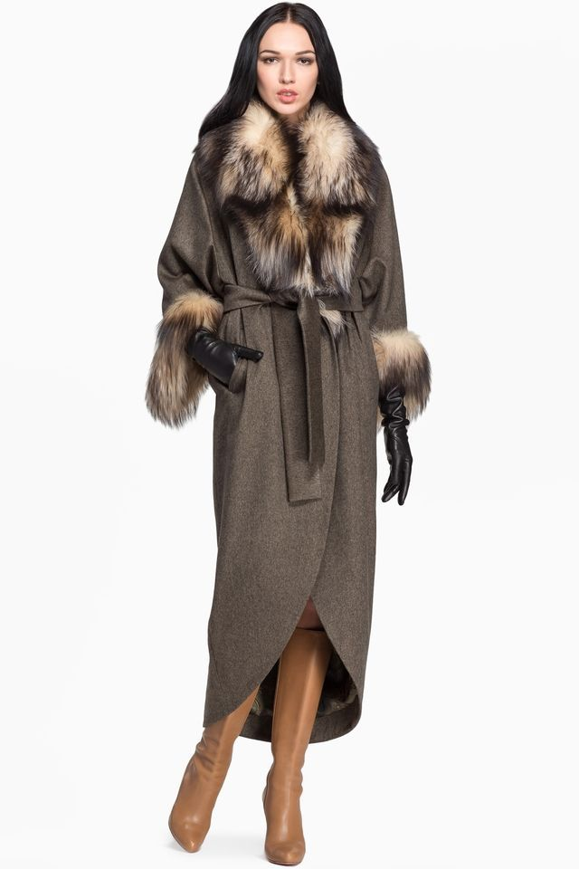 Кашемировое пальто с отделкой из меха лисы и поясом CHARISMA