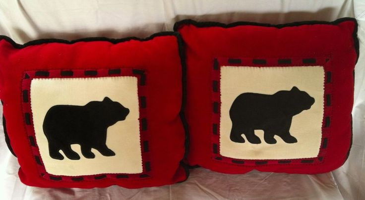 Woolrich Home Black Bear Bed Couch Throw Pillows Red Fleece Black Suede Cabin 2 #Woolrich #Lodge