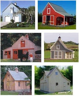 Small Pole Barns designed by Don Berg - Inexpensive stock construction plans are available for 90 different barns, garages, workshops, horse barns, mini-barns, sheds and backyard studios.