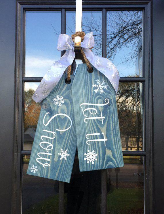 Große Holz – Tür Kleiderbügel – Let It Snow – von handbemalt – Tags Urlaub Türkranz – Winter kommt – Schneeflocken – 0007