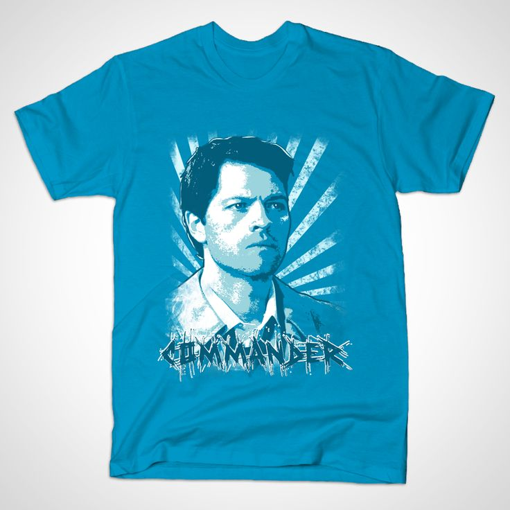 """I'm the one who gripped you tight and raised you from perdition."" Teal Blue shirt variant of this Castiel Portrait. I always got a laugh whenever someone called Cas ""Commander"", so I did a variation on this design... There are other versions of this shirt, check out the ""Castiel 2014"" and also the plain ""Portrait"" version without the text, available in both white and Teal blue. Tags:castiel, misha collins, supernatural, sam and dean, winchesters, winchester, jensen ackles, jared padalecki…"