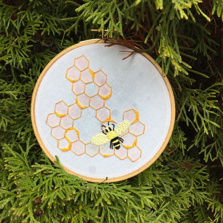 Amperive 5 inch hand embroidered honey bee hive for Ampersand decoration etsy