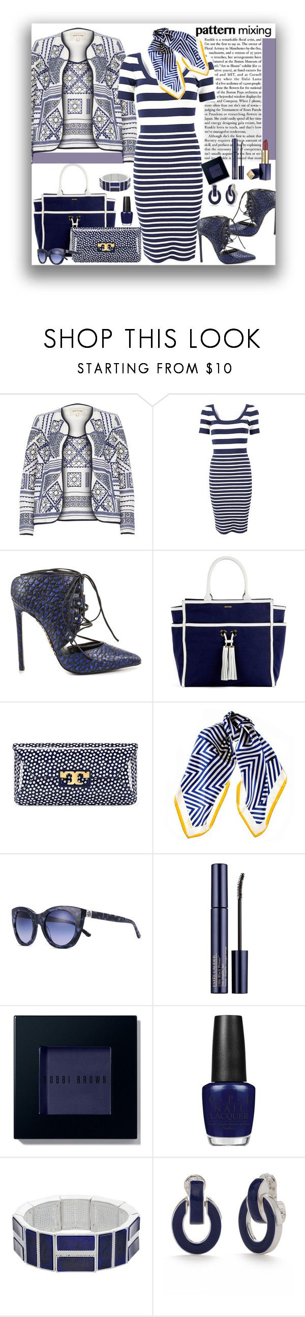 """""""Pattern Mixing"""" by marionmeyer ❤ liked on Polyvore featuring River Island, Michael Kors, Lust For Life, Melissa Odabash, Tory Burch, Black, Estée Lauder, Bobbi Brown Cosmetics, OPI and Chaps"""