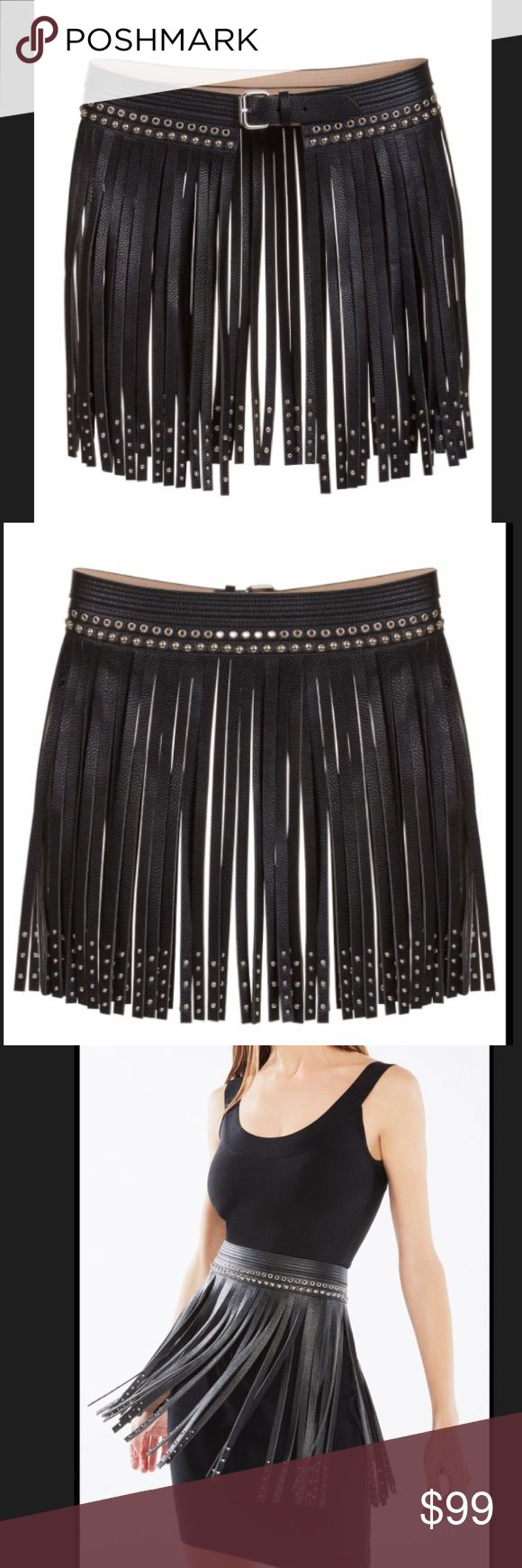 """Bcbg Maxazria Fringe Studded Faux leather belt S New with tags! SUPER CHIC Faux-leather waist belt is finished with cascading fringe and edgy stud embellishments.  Adjustable buckle closure.  Material: Pebbled faux leather - polyurethane.  Imported.  S=29"""" Standard sizing.  Retail $138+ tax FINAL SALE!!! BCBGMaxAzria Accessories Belts"""