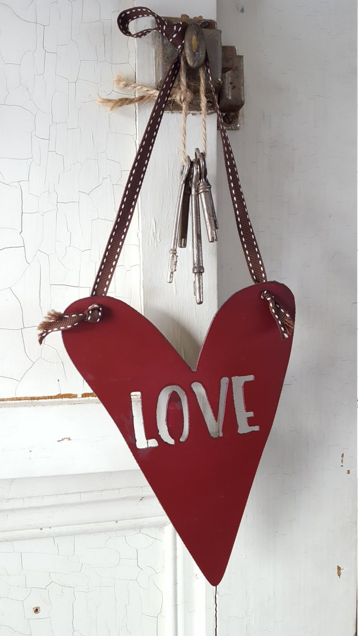 99 best rustic wood signs and home decor images on pinterest love sign heart sign metal heart metal love sign valentines day decor amipublicfo Images