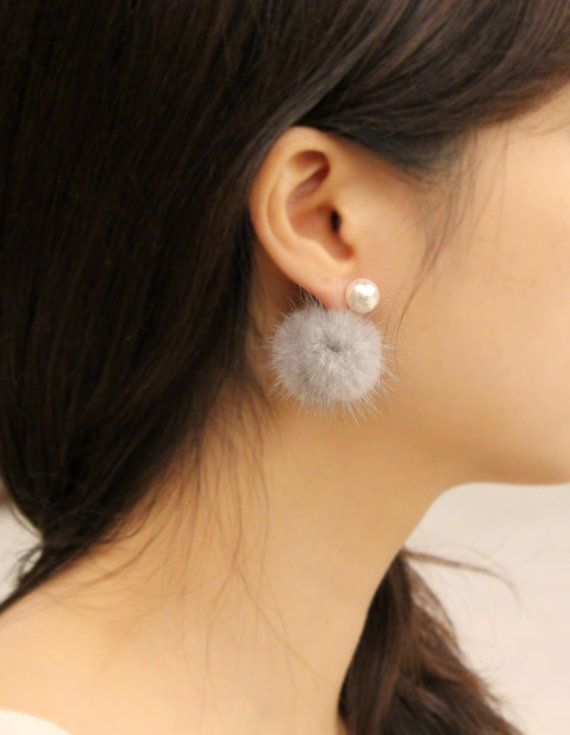SaleFront back fur earrings White mink fur earrings by DIANPEARL